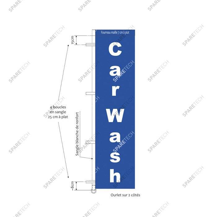 "Blue banner inscribed ""CARWASH"" 3.80 X 1m"