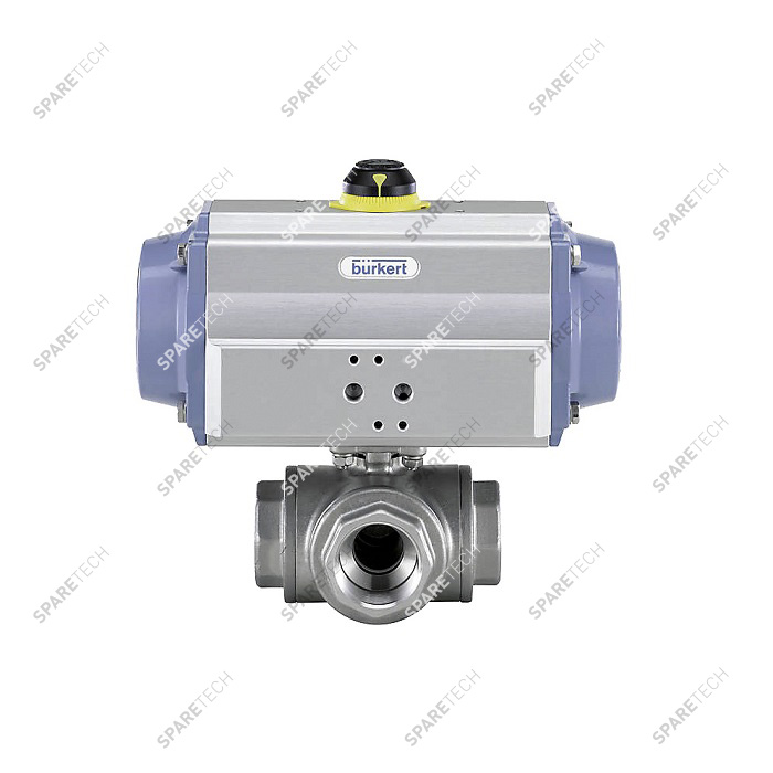 "Pneumatic ball valve 8805 in stainless steel 3 ways G1/4"", 125bar, NO"