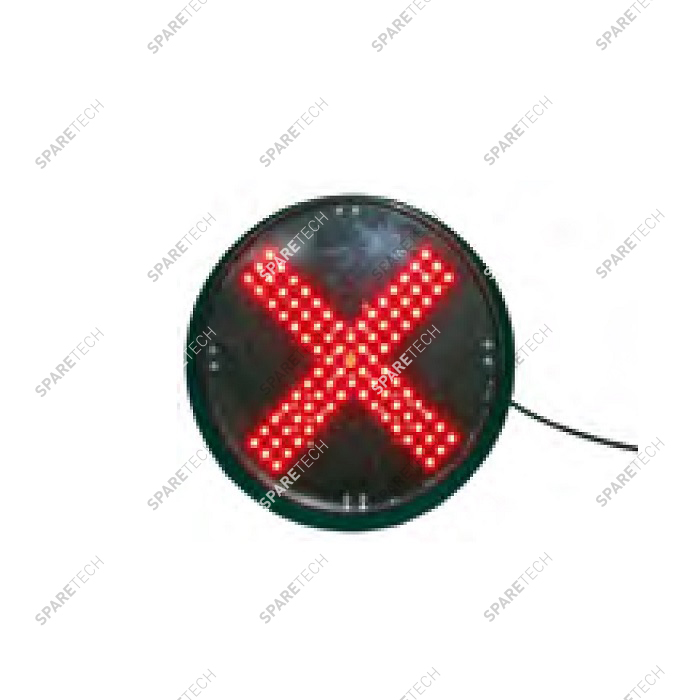 Red cross light with LED 220V, D.200mm