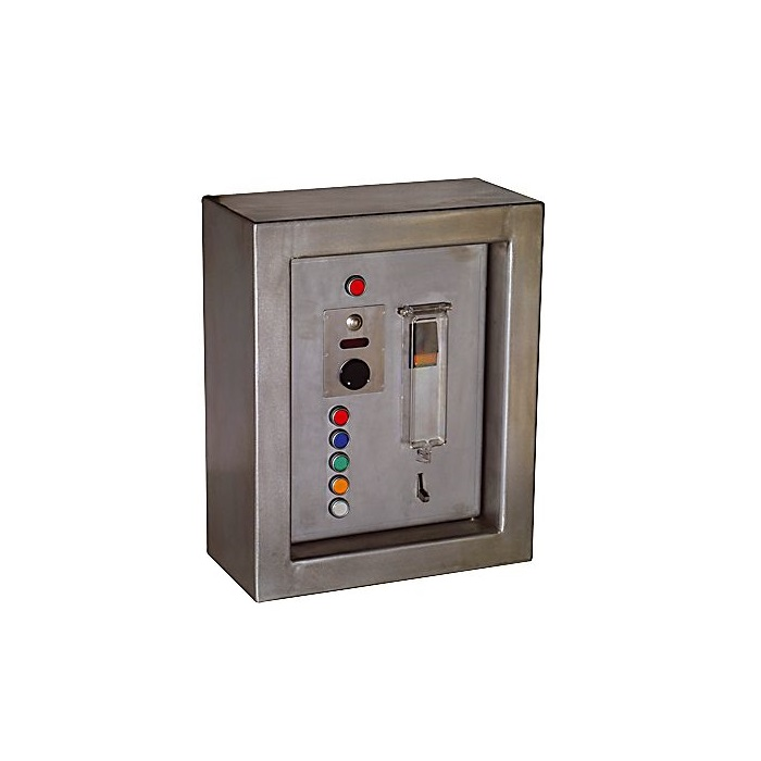 Control box with locking system by electric motor