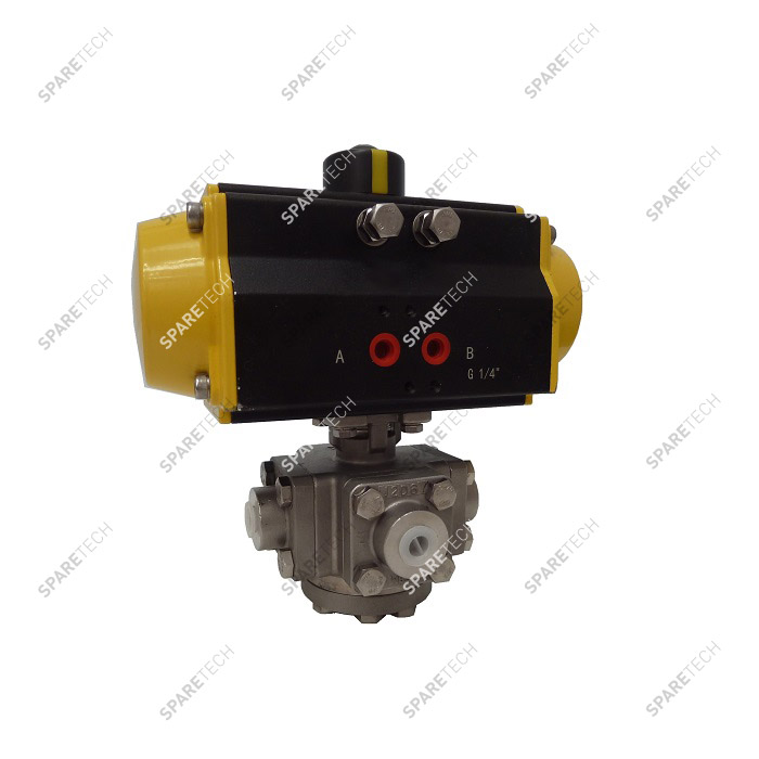 "Pneumatic ball valve in stainless steel 3 ways, 1/4"", 205bar"