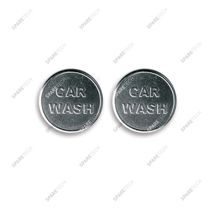 "Brass nicked plated token 22x2,3mm design ""CAR WASH"" (per 100)"