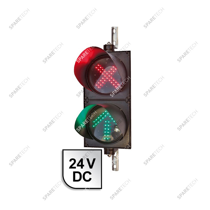 Double cabinet with green arrow and red cross light 24VDC, 50x25cm