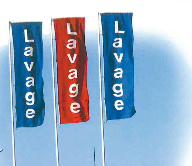 "Red banner inscribed ""LAVAGE"" 4x1m for banner bar"