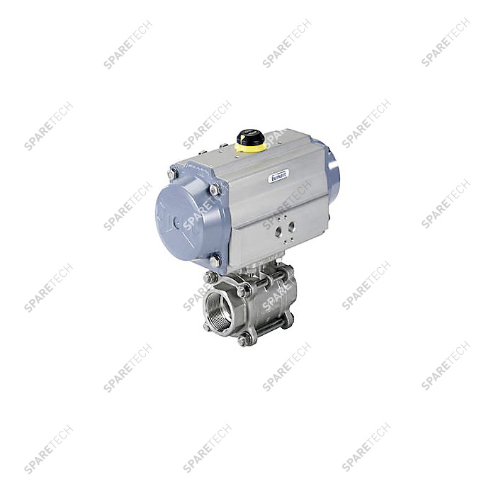 "Pneumatic ball valve 8805 in stainless steel 2 ways, G1/4"", 125bar NO"