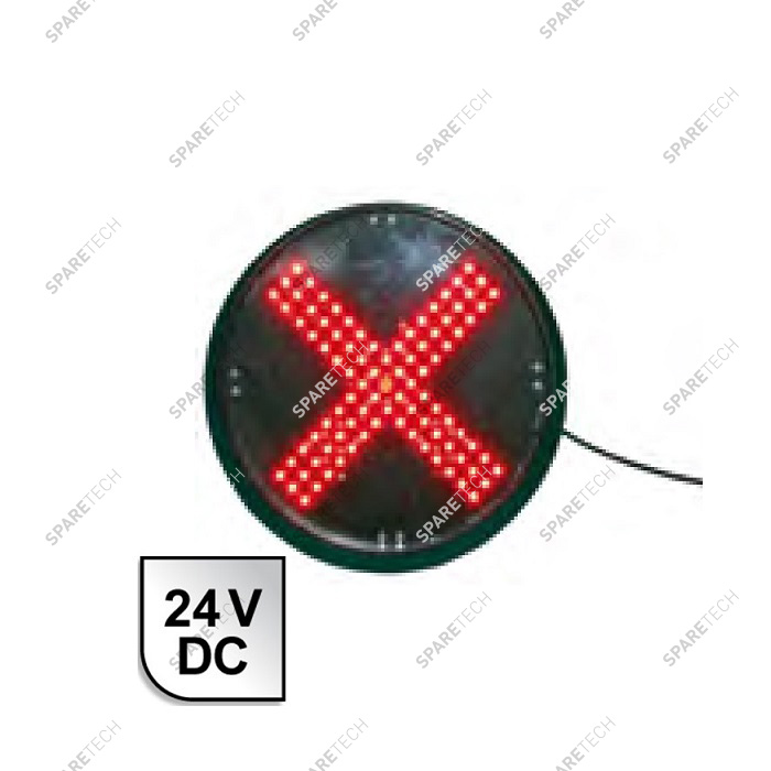 Red cross LED light 24VDC D.200mm